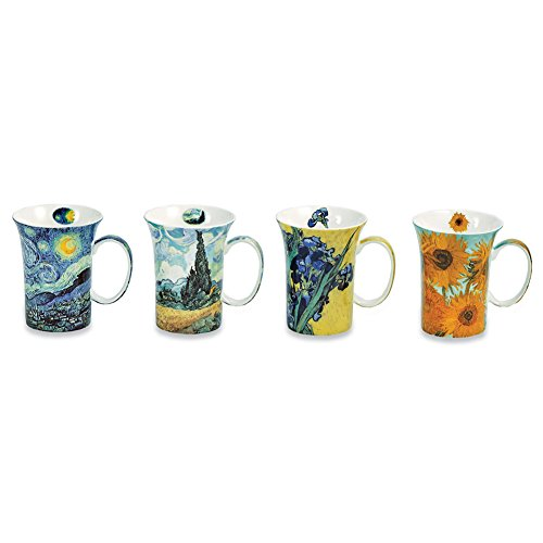 Van Gogh Coffee Mugs in Gift Box - Bone China - 10 oz Cups - Set of 4 - China Gift Set