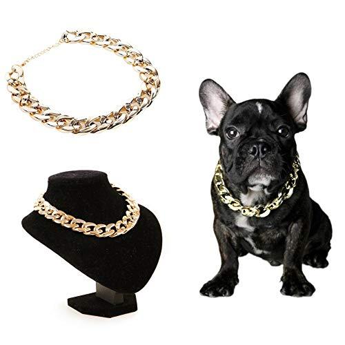 - CheeseandU 1Pc Dog Neck Chain Pet Gold Chain Collar Fashion Cool Plastic Adjustable Pet Bulldog Chain Necklace for Cat Dog Stylish Funny Costume Photo Props