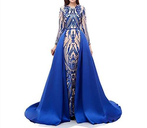 (Aries Tuttle Royal Blue Sequined Satin Mermaid Prom Evening Party Dress Celebrity Pageant Gown Detachable Train)