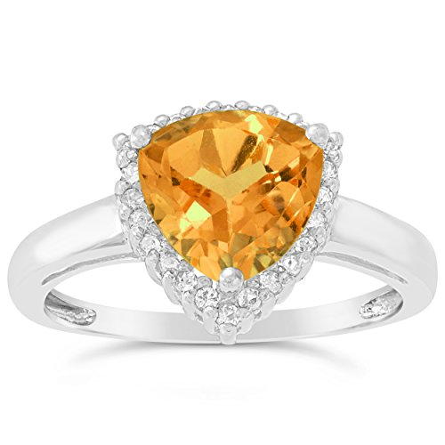 (1.6 Ct Trillion Yellow Citrine White Topaz 925 Sterling Silver Birthstone Ring Sz)