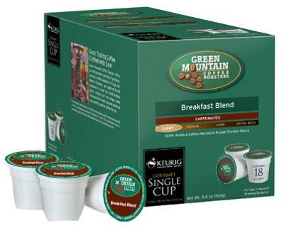 Green Mountain Breakfast Blend Light Roast K-Cups for Keurig (box of 18) -
