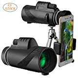 [US Stock] Transer Monocular Telescope - 40X60 High Power BAK4 Prism Monocular Scope with Smartphone Stand for Adults Kids Bird Watching Hunting Camping Travelling Wildlife Secenery (Black)