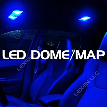 Super Bright Blue Color 2x 6 12v Led Car Interior Dome Lights Panel With 3 Adapters T10 Ba9s And Festoon