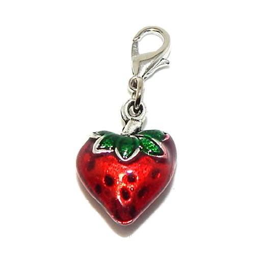 GemStorm Silver Plated Dangling Red Enamel Strawberry Clip On Lobster Clasp (Enamel Clasp Charm)
