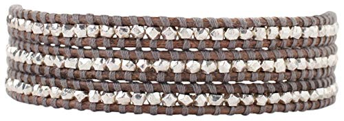 - Chan Luu Natural Grey Mix Leather Wrap Sterling Silver Nugget Bracelet