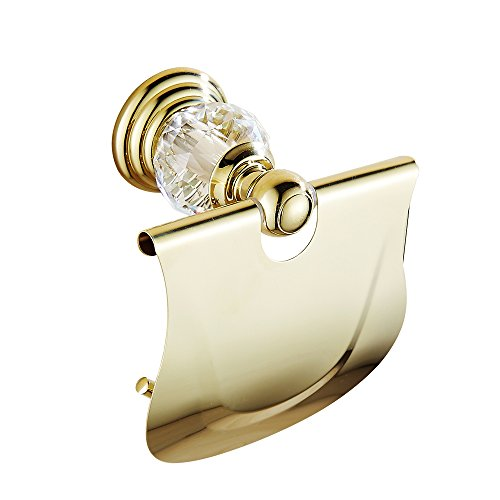 AUSWIND Antique Gold Toilet Paper Holder Brass&Crystal Wall Mounted Bathroom Accessory XH by AUSWIND (Image #1)
