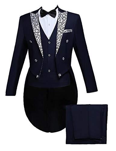 - hower Men's Gentleman 2 Piece Tailcoat Suits Peak Lapel Blazers Tail Tuxedo 6 M