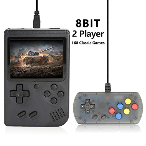 AKTOUGST Retro Handheld Game Console FC System 168 Classic Game Portable Video Game 3 Inch 2 Player Plus Extra Joystick Game Console Support on TV,Presend for Kid Adult, (Black)