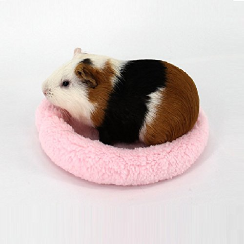 Stock Show 1Pc Hamster Bed, Warm Round Shu Velveteen Winter/Cold Weather Sleeping Pads/Mat Playground for Hedgehog/Squirrel/Guinea Pig/Chinchillas/Small Pet Animals (Pink, L)