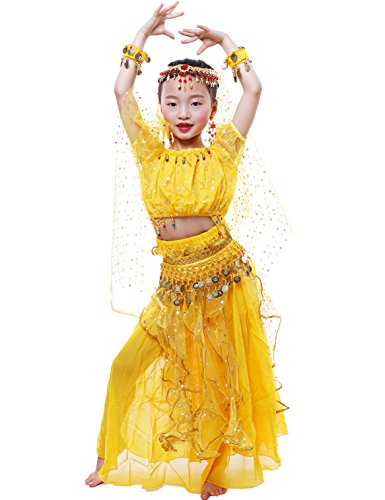 Astage Big Girls` Belly Dance Carnival Dancing Dress Yellow L