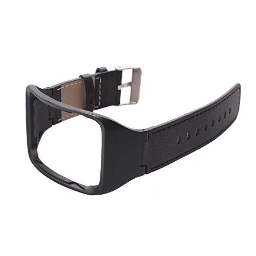 RTYou(TM) Genuine leather Watch Wrist Strap Band For Samsung Gear S SM-R750 Smart (Black)