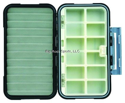 Flambeau Tackle Ripple Blue Ribbon Fly Box(Grey, 8x4.5x1.60-Inch) - 12 Compartment Fly Box