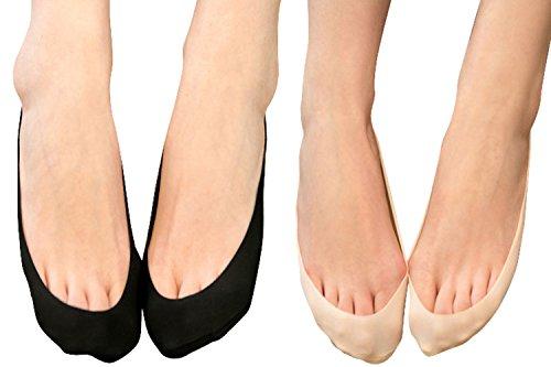 Searchself Women's Black No Show Dress Heels Liner - No Show Socks For Ballet Flats