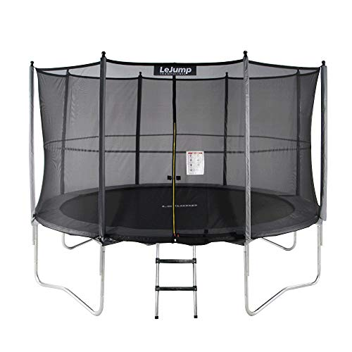- Lejump Trampolines 10ft with Safety Pad & Enclosure & Net & Ladder & Free Socks & Optional Basketball Hoop for Kids TUV Certified (Gray, 10FT)