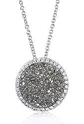 Rhodium Plate Silver Silver-tone Drusy Round Cz Pendant-18