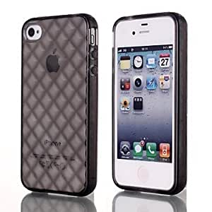 MOM Natusun Solid Color Diamond Pattern TPU Soft Case for iPhone 4/4S (Assorted Colors) , Black