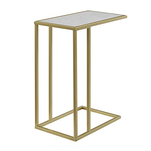 Pemberly Row 20  Faux Marble Side Table in White and gold