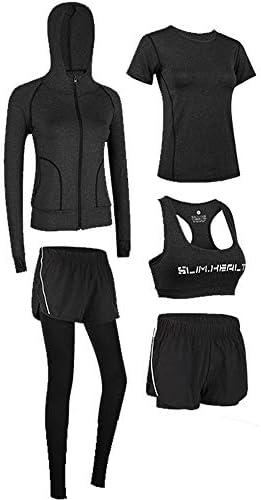 レディースジャージ上下セット セクシーな5ピース衣装トリミングタンクトップとボディコンパンツセットスポーツジャンプスーツ (Color : Black, Size : XL)