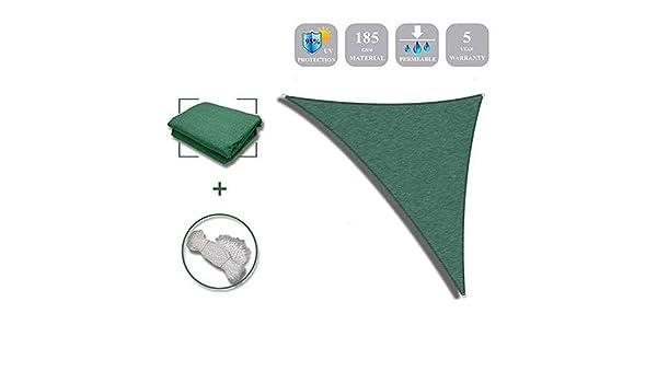 LKLXJ 95% Triángulo de tela de sombra, 5 m x 5 m x 5 m, toldo de ...