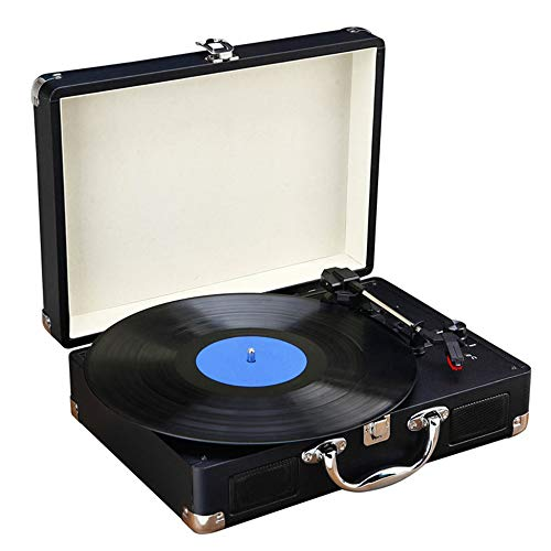 MSTING Record Player, 3 Speed Bluetooth Suitcase Turntable Vinyl Record LP Player with Double Stereo Speakers, Supporting USB/SD RCA Output Headphone Jack, Black. (Double Vinyl Record Player)