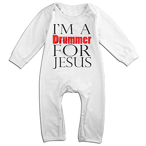 Womens Drummer Boy Costume (Baby Infant Romper I'm A Drummer Jesus Long Sleeve Playsuit Outfits White 24 Months)