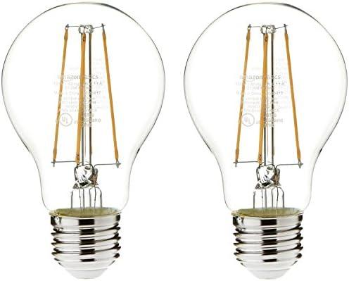 Amazon Basics 60 Watt Equivalent Clear Soft White Non Dimmable 15 000 Hour Lifetime A19 Led Light Bulb 2 Pack