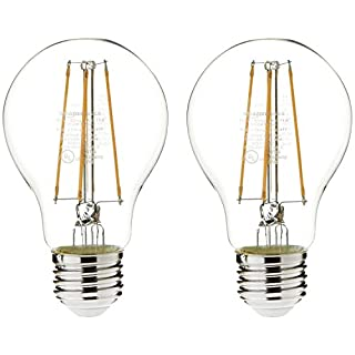 AmazonBasics 60 Watt Equivalent, Clear, Soft White, Non-Dimmable, 15,000 Hour Lifetime, A19 LED Light Bulb | 2-Pack
