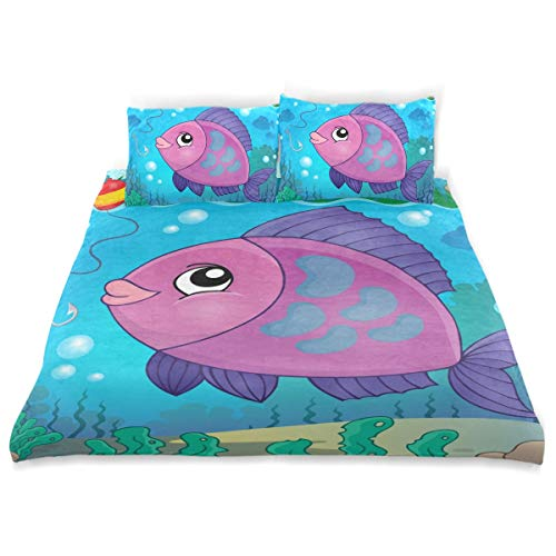 ZOMOY Duvet Cover Set Freshwater Fish Topic Image Eps Decorative Piece Bedding Set with Pillow Shams