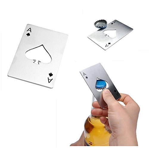 Bottle Opener,Yerwal 5 Pcs Stainless Steel Credit Card Size Casino Bottle Opener for Your Wallet by Yerwal (Image #2)