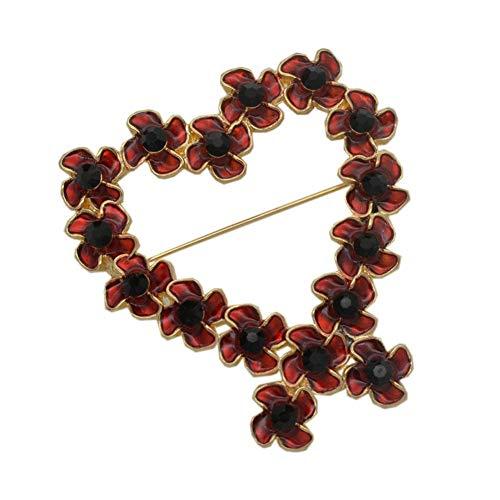 Bling Stars Poppy Wreath Brooch Golden Heart Enamel Poppy Brooches Pin Badge Golden Flower Remembrance Day Gift - Golden Heart Brooch