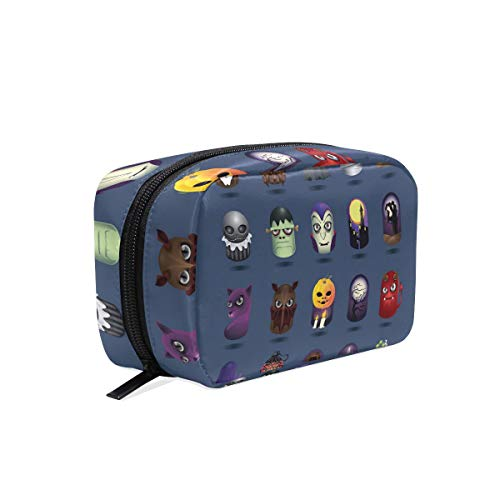 Portable Organizer Makeup bag,Halloween Icons Set Cosmetic Bags Multi Compartment Travel Pouch Storage for Women