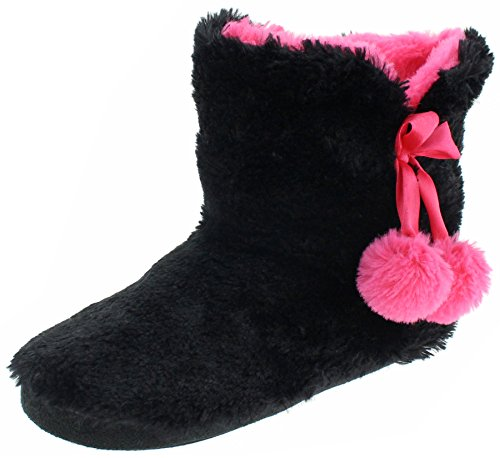 Capelli New York Ladies Long Pile Bunny Fur Boot Black Combo Large (Boots Slipper Fur)
