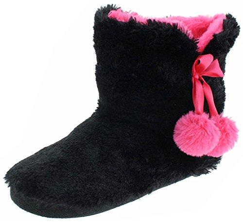 Capelli New York Ladies Long Pile Bunny Fur Boot Black Combo - Slipper Boots Fur