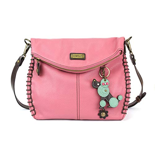 Chala Charming Crossbody Bag With Flap Top | Flap and Zipper Cross-Body Purse or Shoulder Handbag with Metal Chain - Pink - Poodle ()