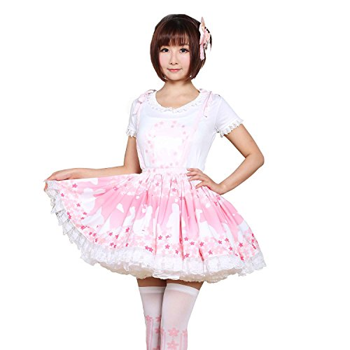 Trendareus Pink Polyester Blossoms and Bunny Printed Lace Lolita Suspender Skirt ()