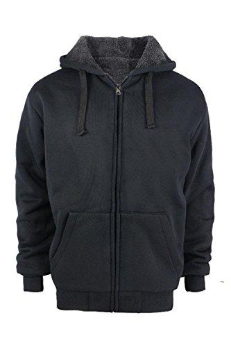 Tanbridge Heavyweight Sherpa Lined Plus Sizes Warm Fleece Full Zip Mens Hoodie with Padded Sleeve & Rib Cuffs (5XL, Black) (Hoodie Full Premium Zip)