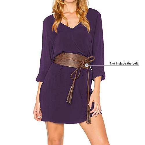 Rodilla Shirt por Púrpura V Larga Elegante Vestido T Cuello Manga DYLH Casual Camiseta de Line A Vestido la q1wTOnCa