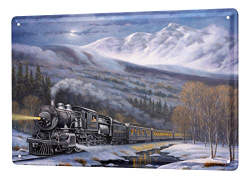 (Decorative Tin Sign Train Station Snow Mountain Railway Wall Metal Plate 8X12