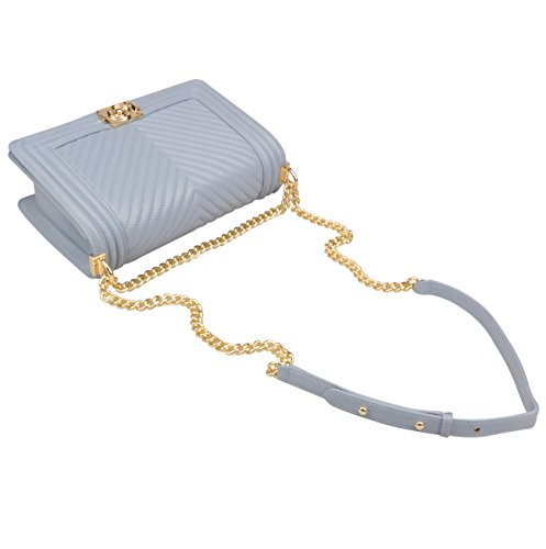 Hardware Grey gold Hobo Genuine Women's Bag Quilted Handbags Strap Crossbody Chain Ainifeel Leather Blue aOSq5Swp