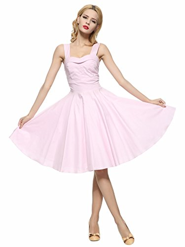 Dirty Dancing Costume Baby (Maggie Tang 50s 60s Vintage Cocktail Swing Rockabilly Ball Gown Dress Pink 3XL)