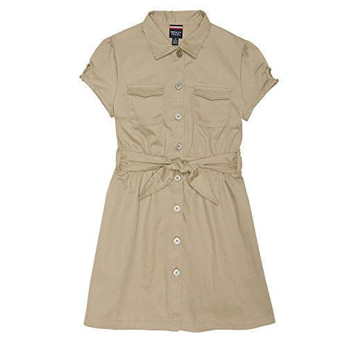 French Toast Big Girls' Twill Safari Shirtdress, Khaki, -