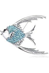 Genuine Crystal Rhinestone Tropical Angel Fish Jewelry Pin Brooch