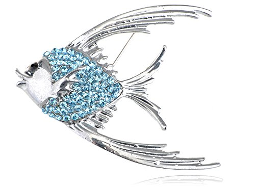 Alilang Synthetic Aquamarine Crystal Rhinestone Tropical Angel Fish Jewelry Pin Brooch