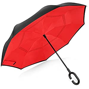 Rainlax Inverted Umbrella Double Layer Windproof UV Protection Sun&Rain Car Reverse folding Umbrellas (Red)