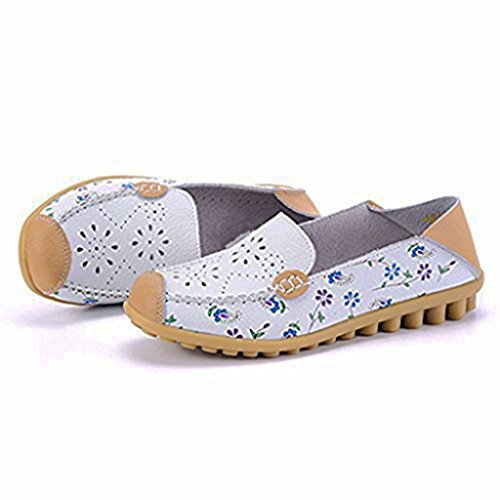 Slip Labato Slippers Shoes 00 Flat Casual Women's White On Leather Loafers Driving xqI7Wp4wIA