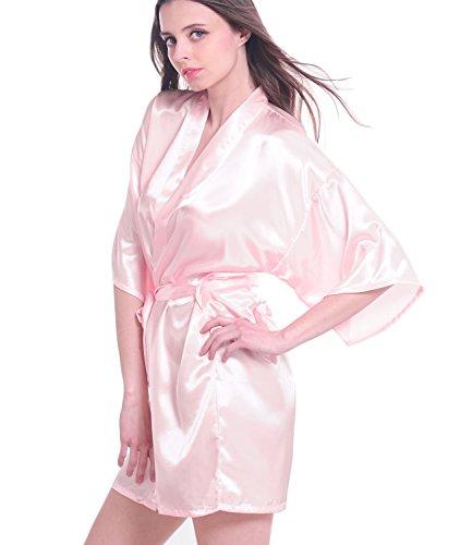 Mujeres satén Kimono Albornoz corto lencería pijamas de dama Rosa