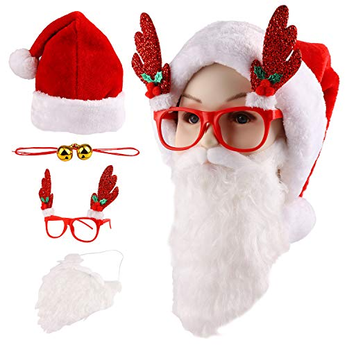 (JEICY Santa Hat Christmas Cap Santa Beard and Reindeer Glasses Red)