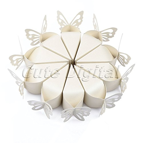 Hyalo (TM) 10pcs/pack Pink/White Butterfly Candy Bomboniere Boxes Baby Shower Christening Birthday Bridal Wedding Favors Creative ()