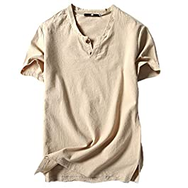 Men's Button V-Neck T-Shirt Casual Linen and Cotton Top Short Sleeve Blouse Tee