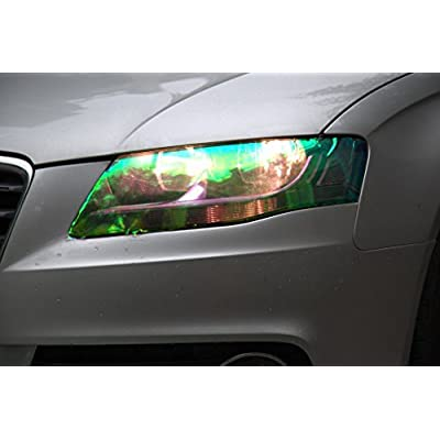 DIYAH 12 X 48 inches Self Adhesive Shiny Chameleon Headlights Tail Lights Fog Lights Films,Film Sheet Sticker,Tint Vinyl Film (Green): Automotive